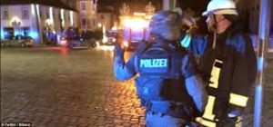 Bombing fire burns in Ansbach, Germany