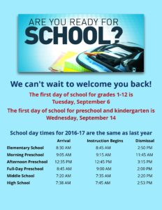 Manchester: Back to school schedule