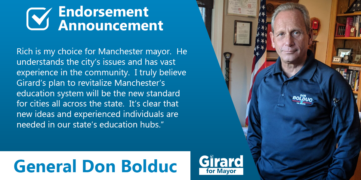 Don Bolduc endorses Richard Girard for Manchester Mayor