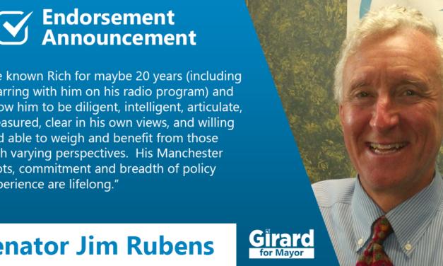 Sen. Jim Rubens Endorses Rich Girard for Mayor